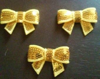 "Yellow 1.5"" Mini Sequin Bows Diy Headband Supplies"