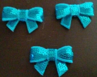 """Aqua Blue 1.5"""" Mini Sequin Bows Diy Headband Supplies"""