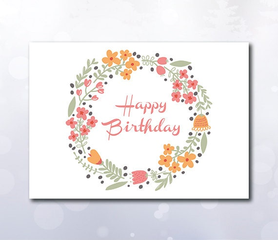 Instant Download Printable Happy birthday card wreath flowers – Birthday Cards Pdf