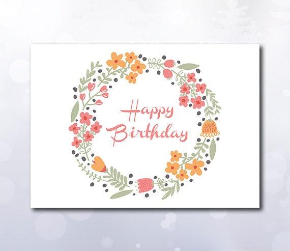 Instant Download Printable Happy birthday card wreath flowers – Birthday Card Pdf