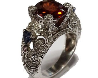 Victorian estate style 6.55 ct single cut diamond/hasonite stone wedding/engagement ring 14 kt gold and silver.