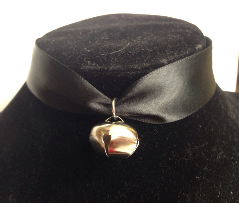 Choker Necklace Etsy: Black Satin Ribbon Choker Necklace With Cat Bell