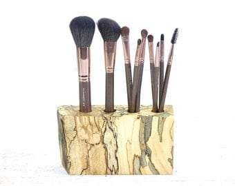 Reclaimed Wood, Live Edge Spalted Maple Cosmetic Brush Holder,  Makeup Organizer Vanity Display