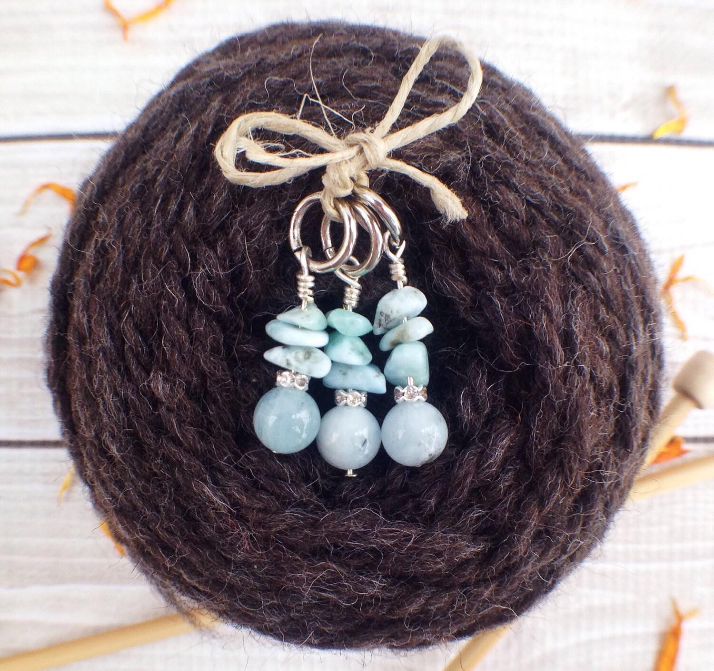 Best Knitting Stitch Markers : Knitting Stitch Markers / Gemstone Stitch Markers / Blue