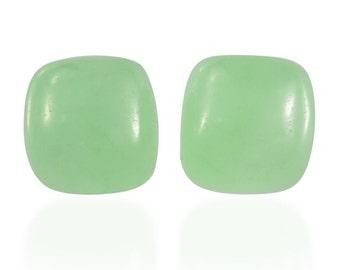 Green Jade Dyed Cushion Cabochon Loose Gemstones Set of 2 1A Quality 6mm TGW 2.00 cts.