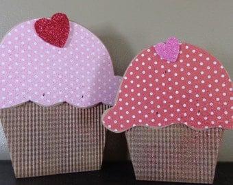 Valentines Decor, Chunky  Woodcraft, Valentines Craft, Cupcake set
