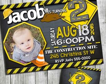 Construction birthday invitation, chalkboard Construction birthday party, Construction party, under Construction Invitation, Printable