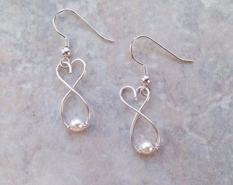 Silver Earrings, Heart Earrings, Simple, Pearl, Wire, Sterling Silver, Dangle, Small, Bridal Jewelry, Bridesmaids Gift, For Her, Girl, Heart