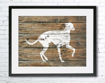 Greyhound art illustration print,dog painting, Wall art,Rustic Wood art,Animal print,Home Decor,Animal silhouette,Greyhound print,dog print