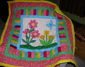 New Secret Garden Applique Baby Wall Crib Quilt