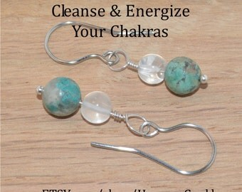 Chrysocolla & Quartz Earrings, on Sterling Silver headpin and Stainless Steel (hand-made) Fishhook Earwires