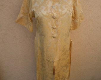 "Bust: 36"" ** Incredible Satin Rayon 1940s Dress / Jacket"