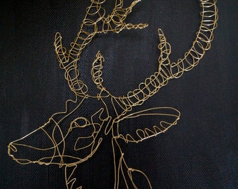 Wire Sculptural Drawing of a Christmas Reindeer