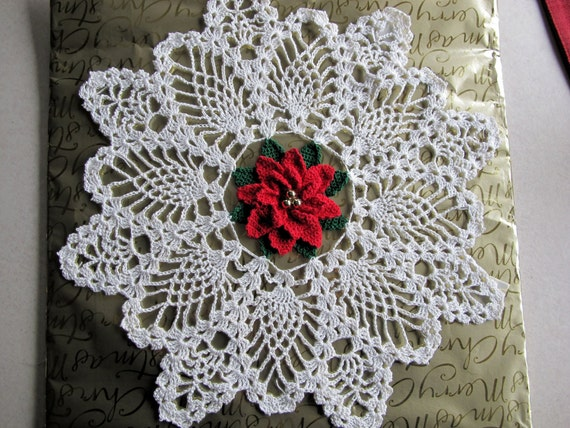 POINSETTIA PINEAPPLE Crochet Doily 14.5 inch by ...