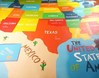 USA Map Art Canvas - US States and Capitals - Unframed Canvas Print
