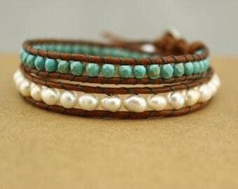 ETS-B168 Wrap bracelet , turquoise bracelet, freshwater pearl bracelet, leather pearl bracelet,  leather wrap bracelet ,1 piece