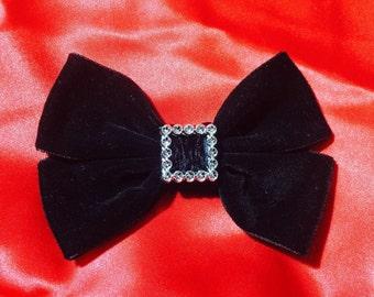Black Velvet Hair Bow, Christmas Bow