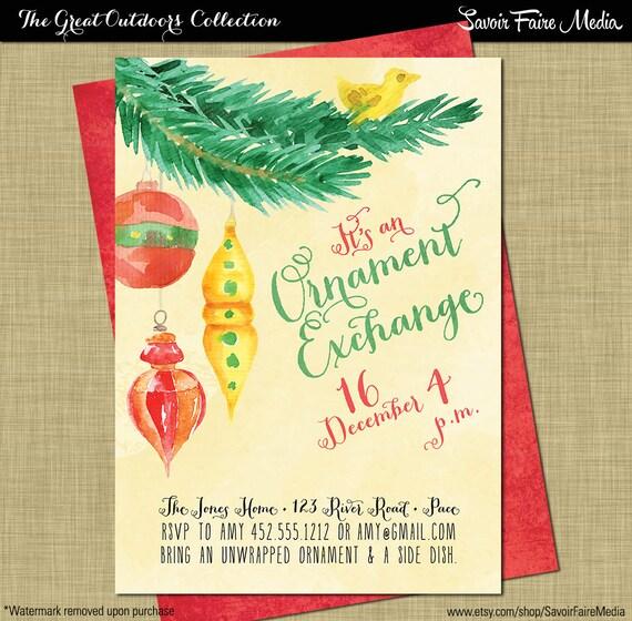 Christmas Ornament Exchange Invitation // Christmas White