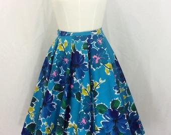 "1950s Turquoise Blue Floral Cotton Circle Skirt 28"" Waist"
