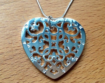 Large sterling silver filigree heart necklace