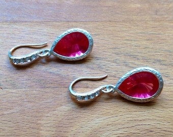 Stunning silver and dark pink / fuchsia framed crystal earrings