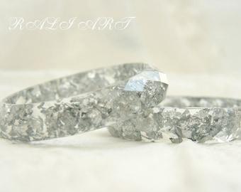 Resin bracelet Summer jewelry Summer bracelet Bracelet faceted Bracelet silver flakes bangle Boho jewelry Bangle resin Crystal bracelet