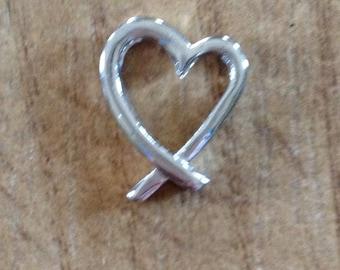Vintage silver tone heart charm