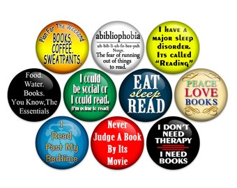 Book Lover - Bookworm - Librarian Pin Back 1 inch Button Or Magnet