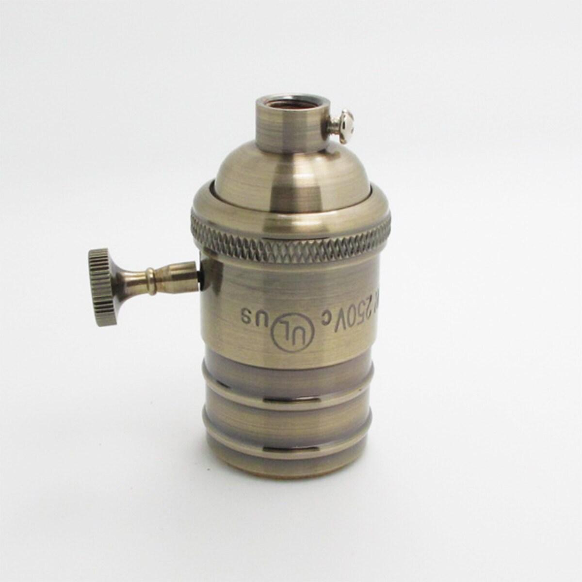 Douille de lampe cuivre fonc avec interrupteur marche arr t - Douille lampe de chevet ...