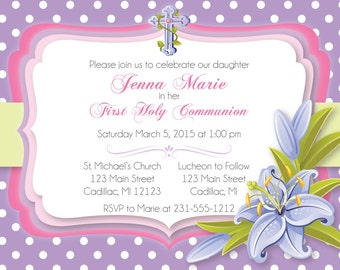Purple Lily First Communion Invitation • Girls First Communion Invitation