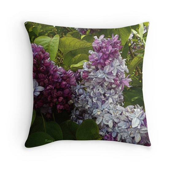 Decorative Pillow Lilac : Throw Pillow Lavender Lilac s colorful decorative by ArtbyKatsy