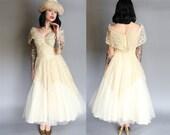 1950's De Michel Shelf Nude Illusion Wedding Dress Taffeta Lace & Tulle