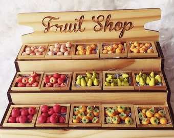 Empty Showcase Fruit Shop Wooden Stand for miniature,Miniature showcase, Miniature display, Wooden Display for Doll's House decoration.