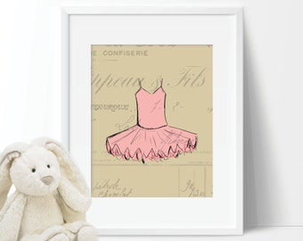French Tutu Ballet Single Print - Home. Decor. Nursery. Girl. - You Pick the Size (S-198)