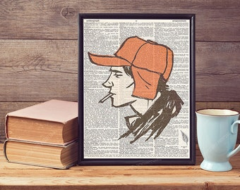 J.D Salinger The Catcher In The Rye Holden Caulfield Vintage Antique Upcycled Recycled Dictionary Page Print Art Poster Wall Art