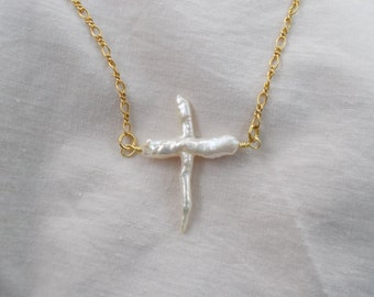 Cultured Pearl Cross and Chain