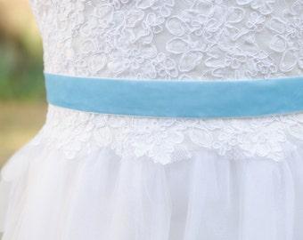 Velvet Sash, Robin's Egg Blue Velvet Wedding Sash, Velvet Belt- EMMY