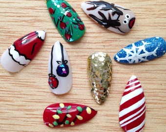 Holiday Stiletto nails, 24 mix and match false nails, christmas design fake nails, long glitter nails
