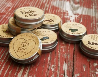 Wedding Favors / custom lip balm wedding favor / organic lip balm engagement party favors country wedding party reception / bridal shower