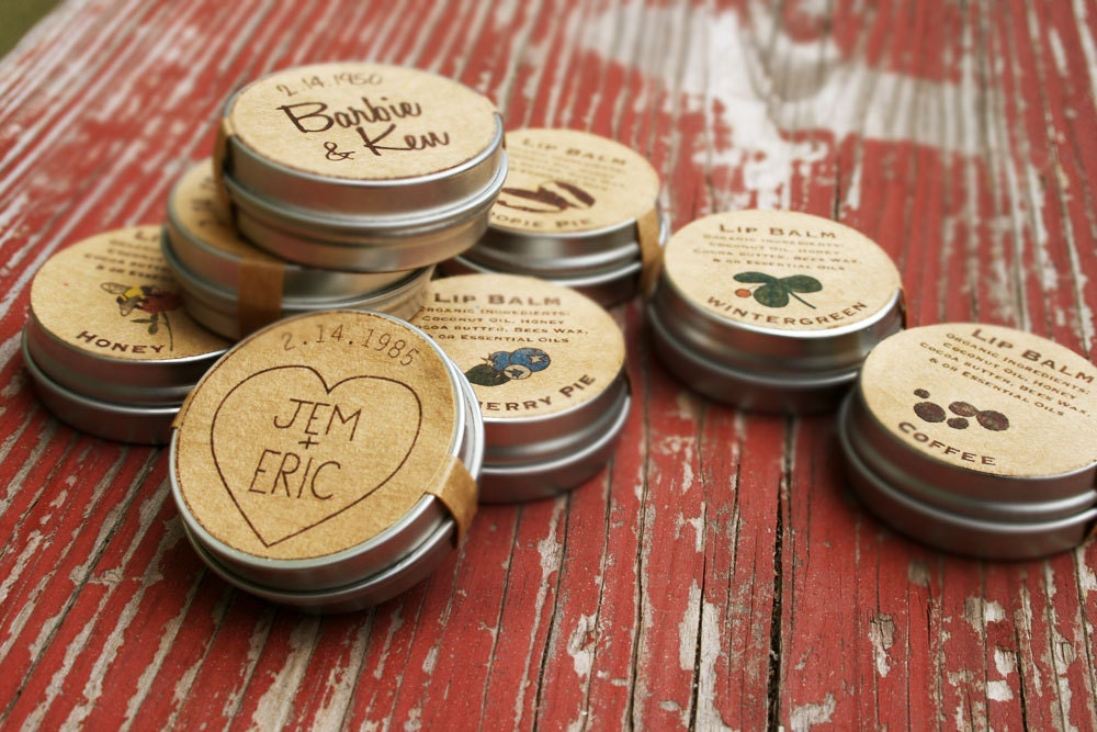 Wedding Favors Custom Lip Balm Favor Organic Engagement Party Country Reception Bridal Shower