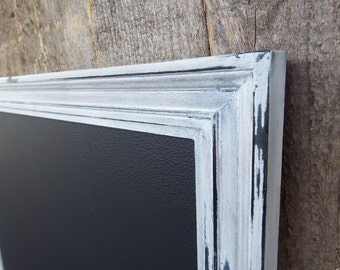 Magnetic Chalkboard Heavily Distressed White Black Vintage Style Frame -Magnetic Board - Chalkboard - Shabby Chic
