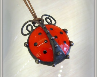 Stained glass pendant Ladybird