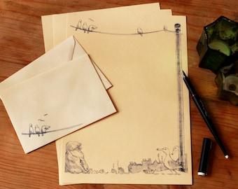 writing set, stationary set, cream with beautiful seagull scenery drawing