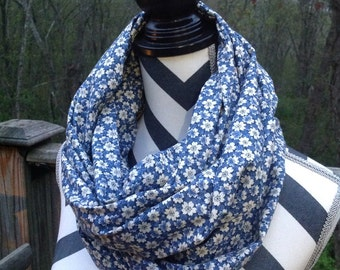 Summer scarf. Infinity Scarf. Blue Floral Infinity Scarf. Spring scarf.
