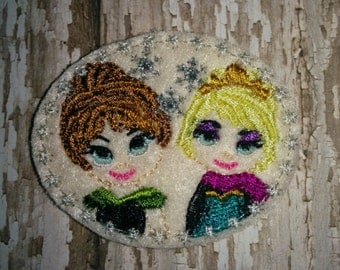 Set of 4 Frozen Elsa and Anna Sisters EXCLUSIVE Coronation Head Face Cutie Felties Feltie Felt Embellishment Bow! Princess Queen and Snowman