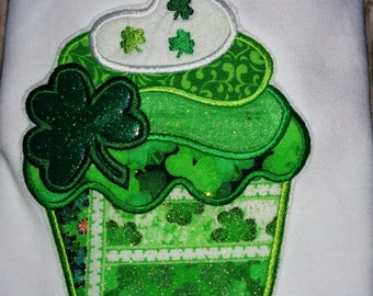Baby Infant Toddler Girls Shamrock Cupcake St Patrick Patrick's Patty's Paddy Paddy's Pattys Day Boutique T-Shirt Embroidered! Clover