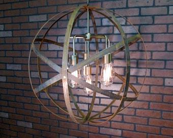 "ON SALE!  Rustic Chandelier Wine Barrel Ring Light Orb Ceiling Light 24"" Sphere 6 Light Antique Gold Modern Contemporary Chandelier"