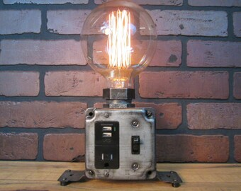 Industrial Desk Lamp - Industrial Phone Charger - Laptop Charger - USB Port - Steampunk Office Decor -