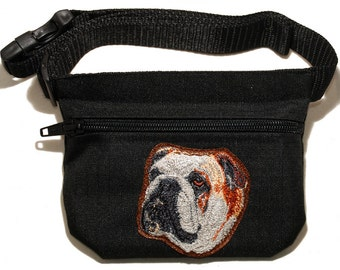 Bulldog (English Bulldog) embroidered dog treat bag / treat pouch. For dog shows, dag walking and training. Great gift for Bulldog lovers.