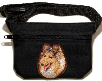 Collie dog breed embroidered dog treat waist bag (treat pouch). For dog shows, training and walking. Great gift for breed lovers.